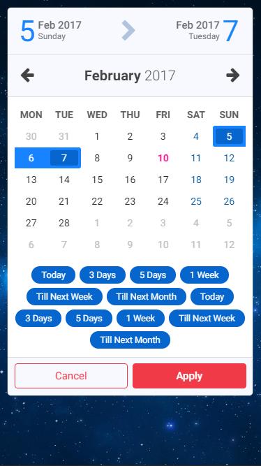 Caleran - Date Range Picker | Web Forms | Ui website, App