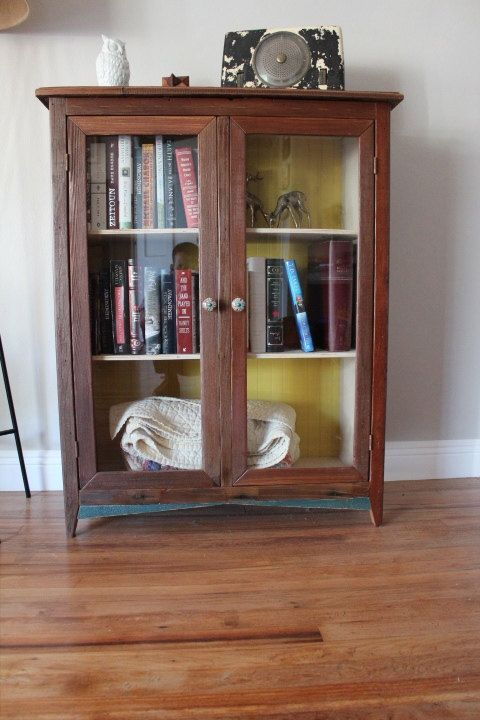 Reclaimed Wood Bookcase With Glass Doors Decor Ideas Pinterest