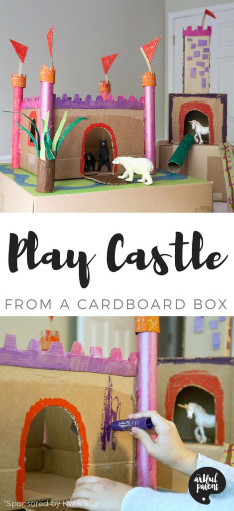 How to Make a Cardboard Castle for Hours of Pretend Play is part of Kids Crafts Bible Plays - Here's how to make a cardboard castle for kids' pretend play QUICKER and EASIER than you thought possible  You'll want a cardboard box, cardboard tubes, a glue gun, and some paint sticks  That's all!