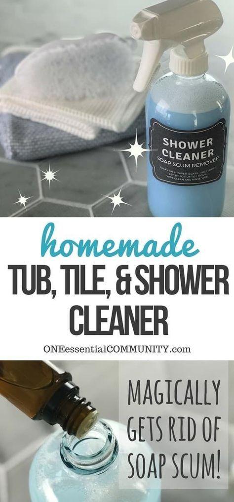 Homemade shower cleaner diy home cleaning - Diy bathroom cleaner essential oils ...