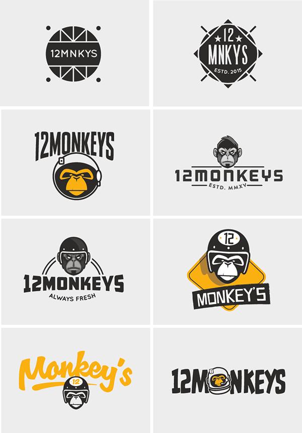 Zender! 12 Monkey's Logo designs. Various Graphics 2015 on