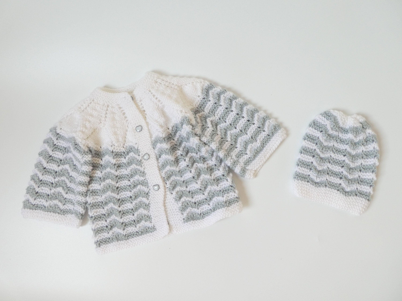 Hand knitted unisex kids, baby/toddler cardigan/jacket