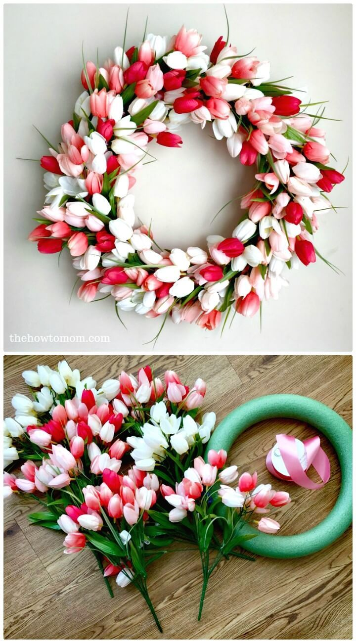 Easy Diy Tulip Wreath For Spring 101 Easy Diy Spring Craft Ideas And Projects Diy Crafts Diy Spring Crafts Spring Diy Spring Crafts