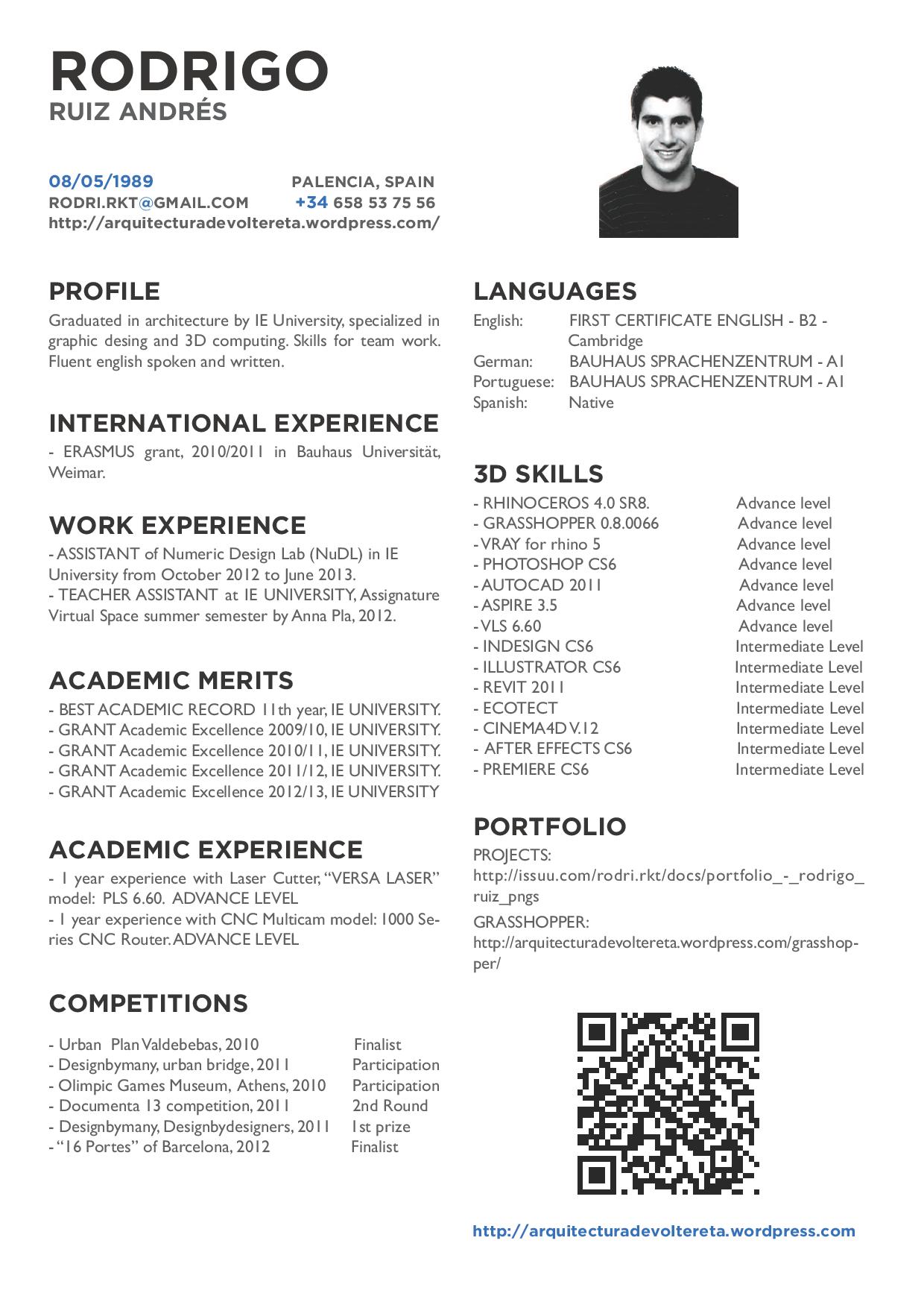 Curriculum Vitae Http Arquitecturadevoltereta Wordpress Com Cv