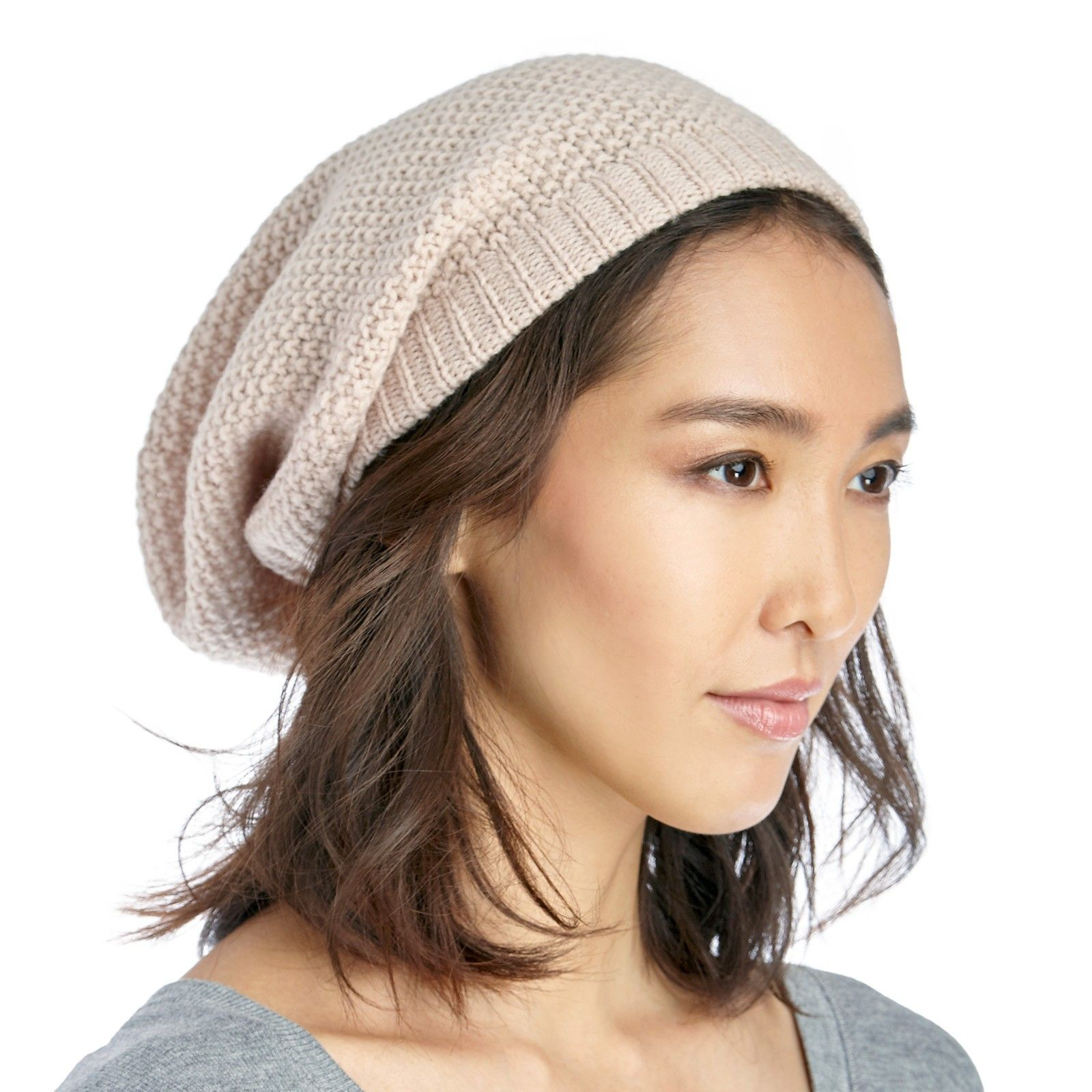 5ec02410c72 slouchy wool beanie - Natural-one size