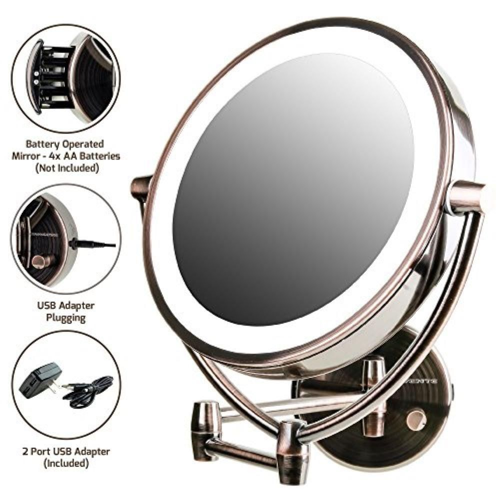 Ovente Wall Mount Mirror Battery Or Usb Adapter Operated Dimmable Led Lighted Makeup Mirror Mlw45ab1x7x Mlw45ab1x7x In 2019 Makeup Mirror With Lights Wall Mounted Mirror Wall Mounted Makeup Mirror