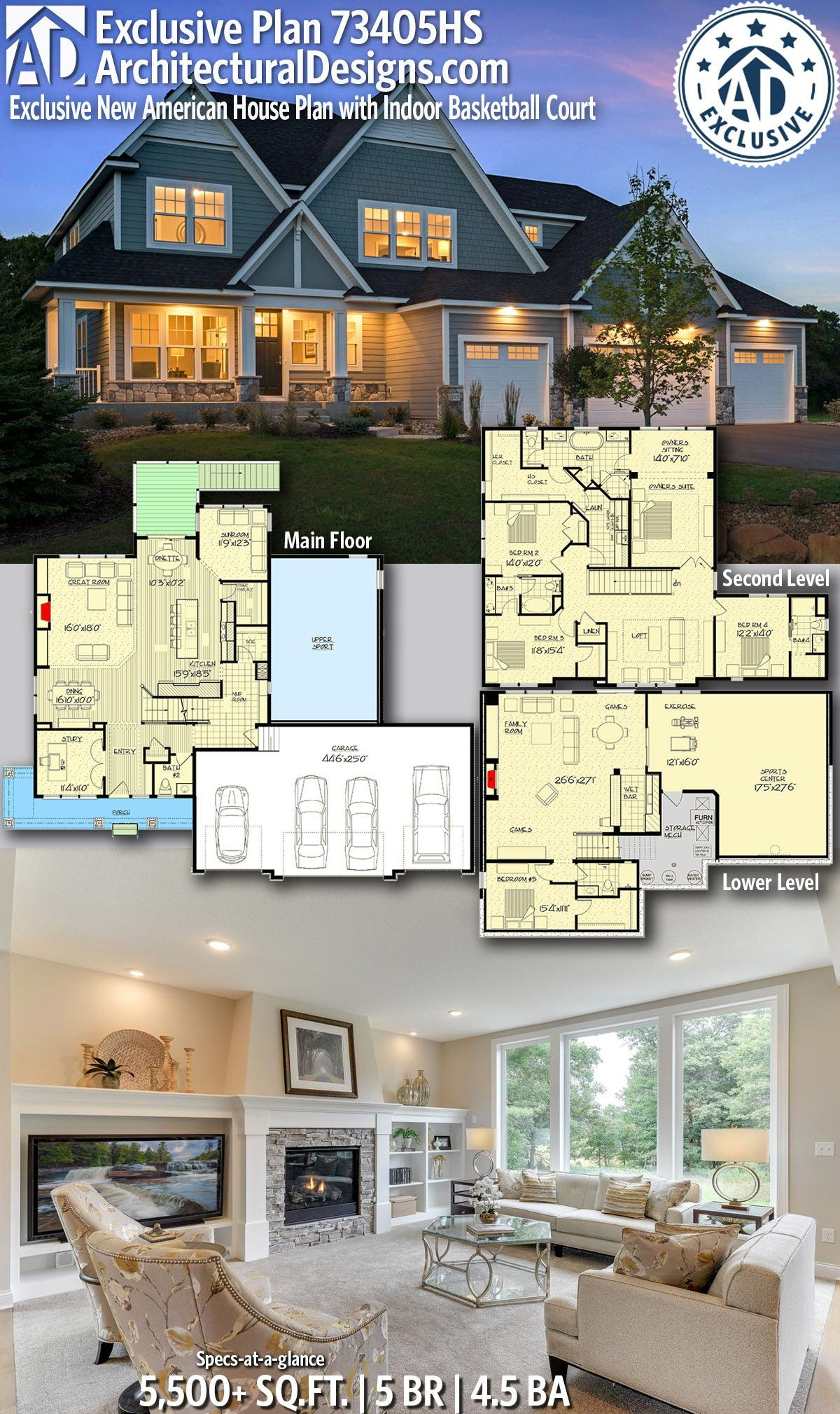 Plan 73405hs Exclusive New American House Plan With Indoor Basketball Court House Blueprints House Plans Mountain House Plans