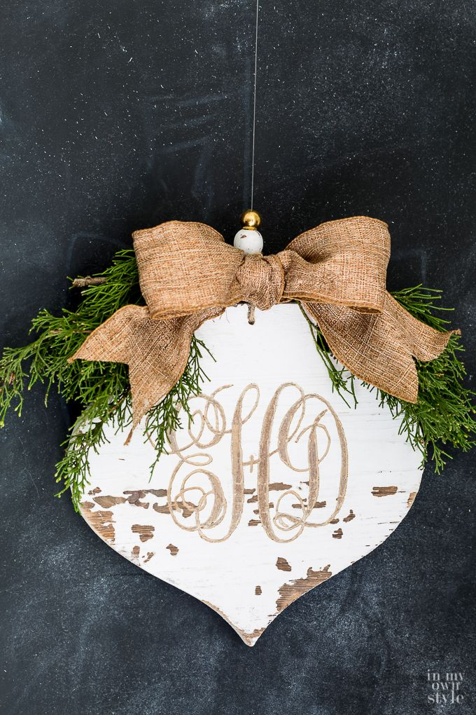 Photo of Distressed & Carved Wood Monogrammed Ornament | In My Own Style