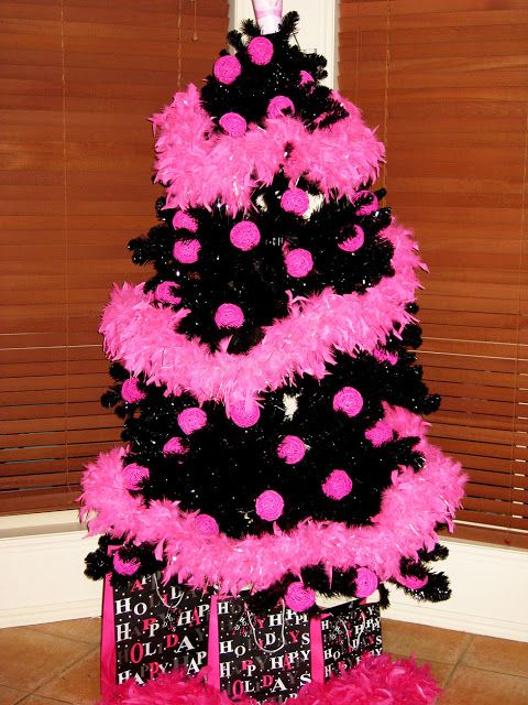 Black Christmas Tree With Pink Decorations