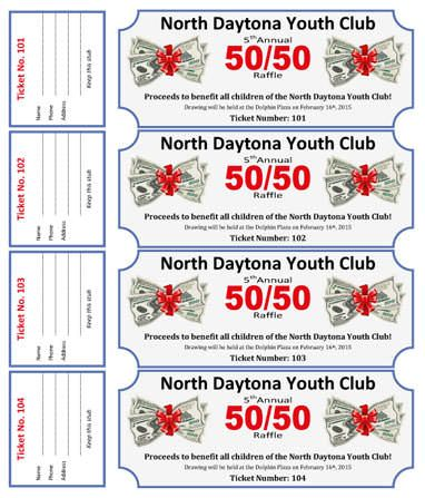 50 50 Cash Raffle For Youth Club   Free Coupon / Ticket Template By Hloom  Fundraiser Ticket Template Free Download