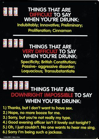 Things That are Difficult to Say When You're Drunk Funny Tin Sign
