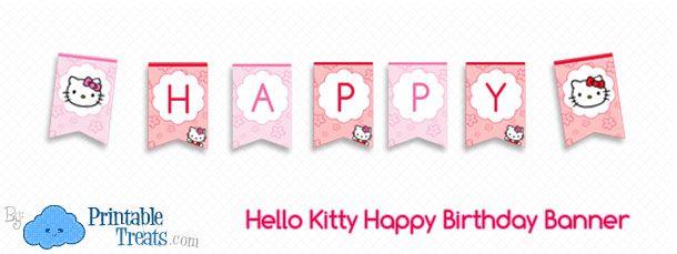 photograph regarding Free Printable Birthday Signs referred to as free of charge-o-kitty-joyful-birthday-banner Printables Pleased