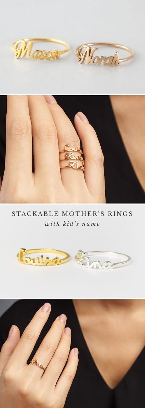 Stackable Name Ring Personalized Name Rings Rose Gold Name Ring Children S Name Ring Gold Ring With Nam Mom Jewelry Mothers Ring Stackable Mother Rings
