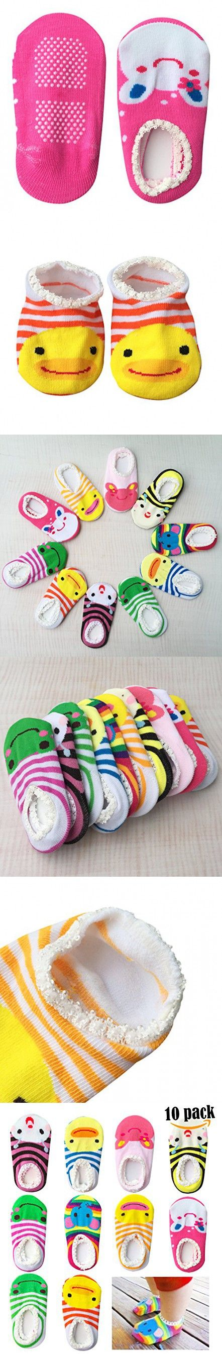 Bassion 10 Pairs Random Colors Non Slip Baby Socks For 6 18 Months