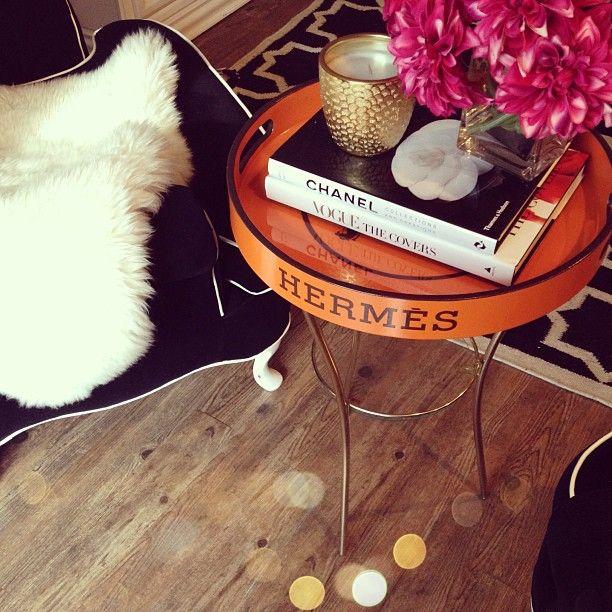 Orange hermes tray table   credit - jenn5716, Instagram