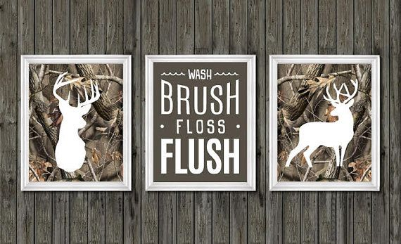 Camo Bathroom Decor Boys Deer Wash Brush Floss Flush Camouflage Theme Hunting