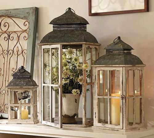 Lanterns of all different shapes, sizes, and colorsall around my house. I absolutely love the idea of lanterns to decorate! Love to be creative with what to put inside!