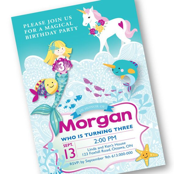 Unicorn Mermaid Invitation Under the Sea Invite Magical Unicorn