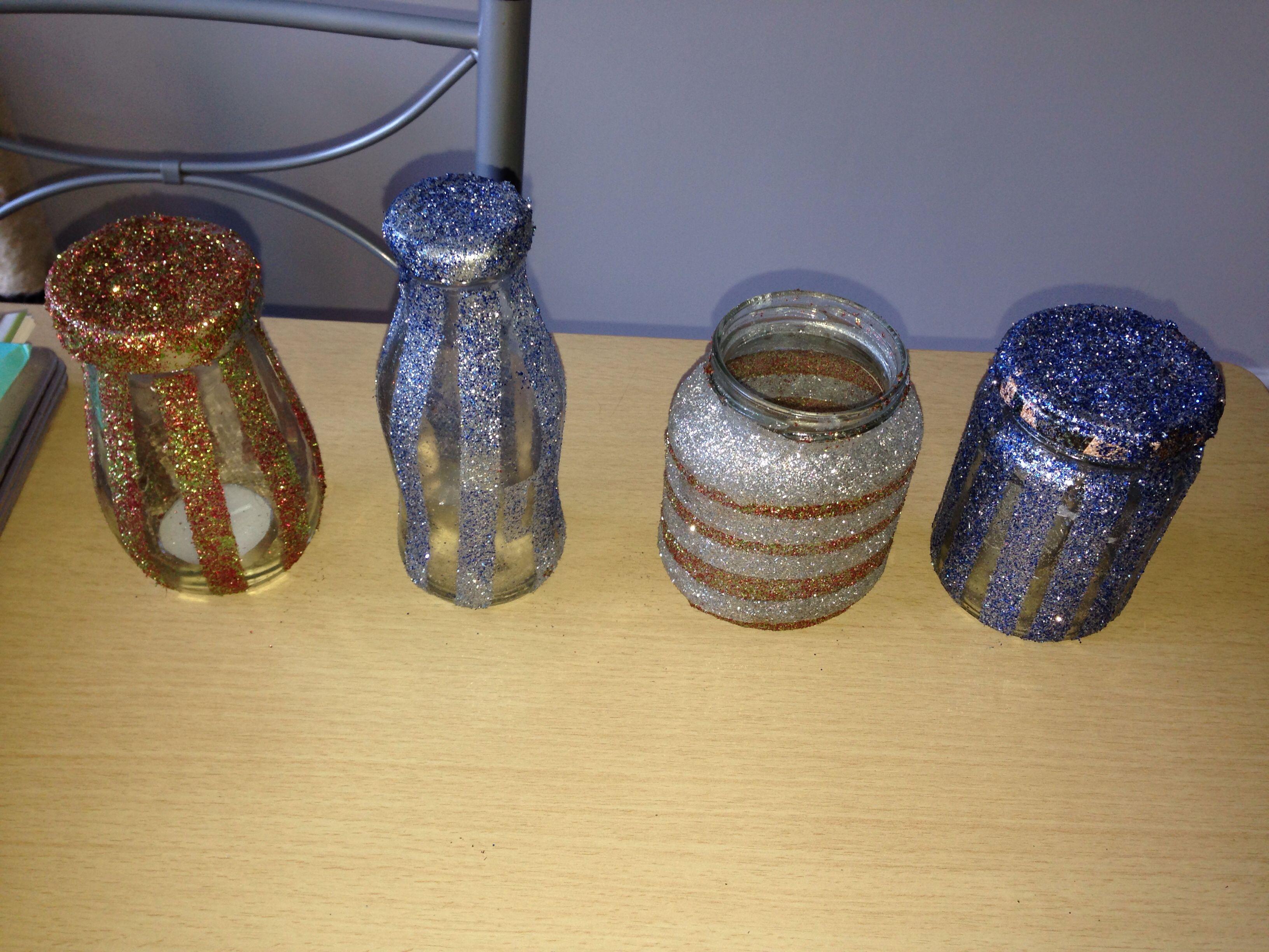 Glitter glass jars designed by me