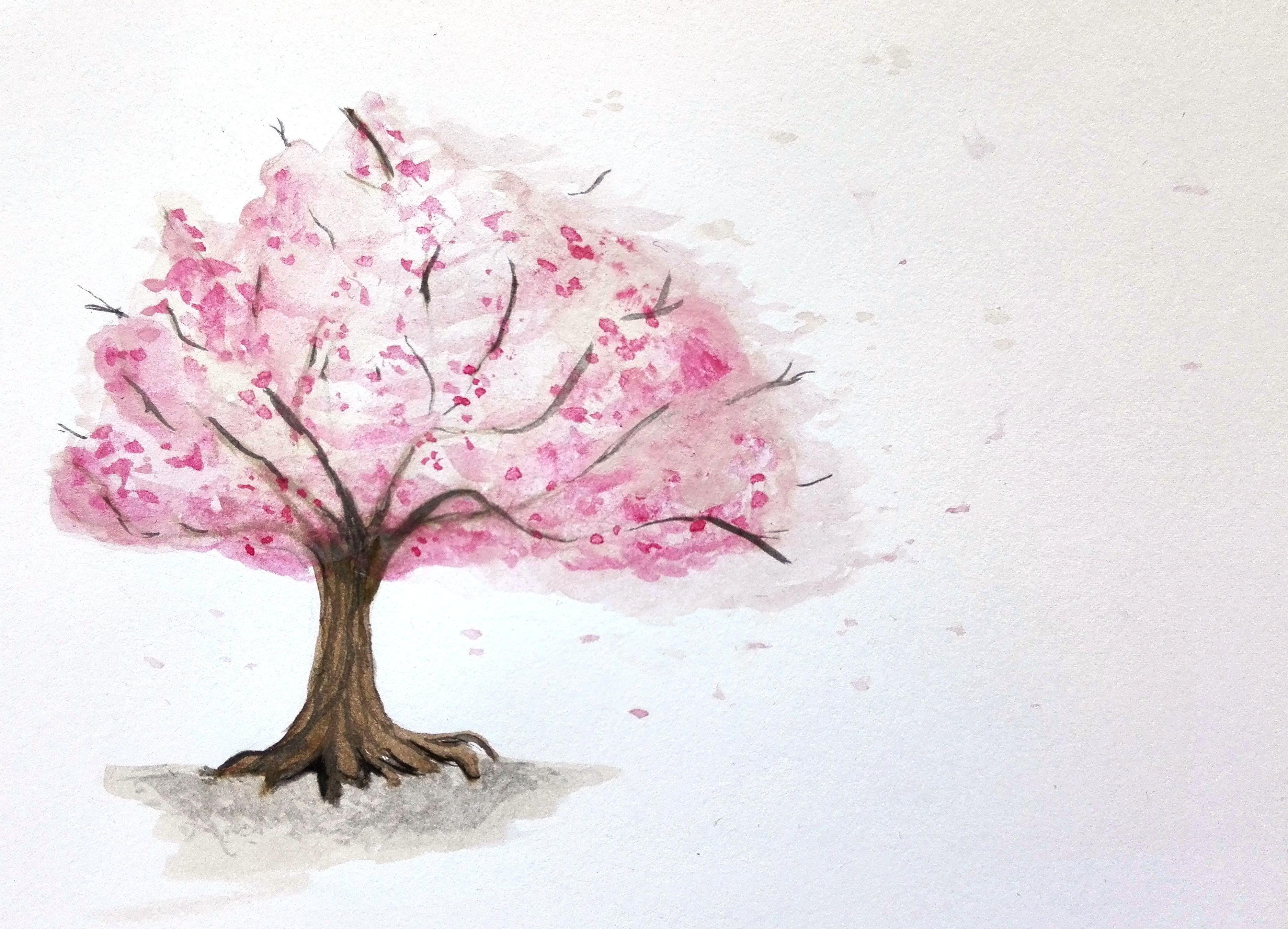 Cherry Blossom Trees Tree Watercolor Painting Sakura Painting Tree Art