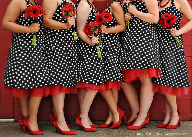 Polka doted bridesmaid dresses - Polka Dot | Pinterest - Bruiloft ...