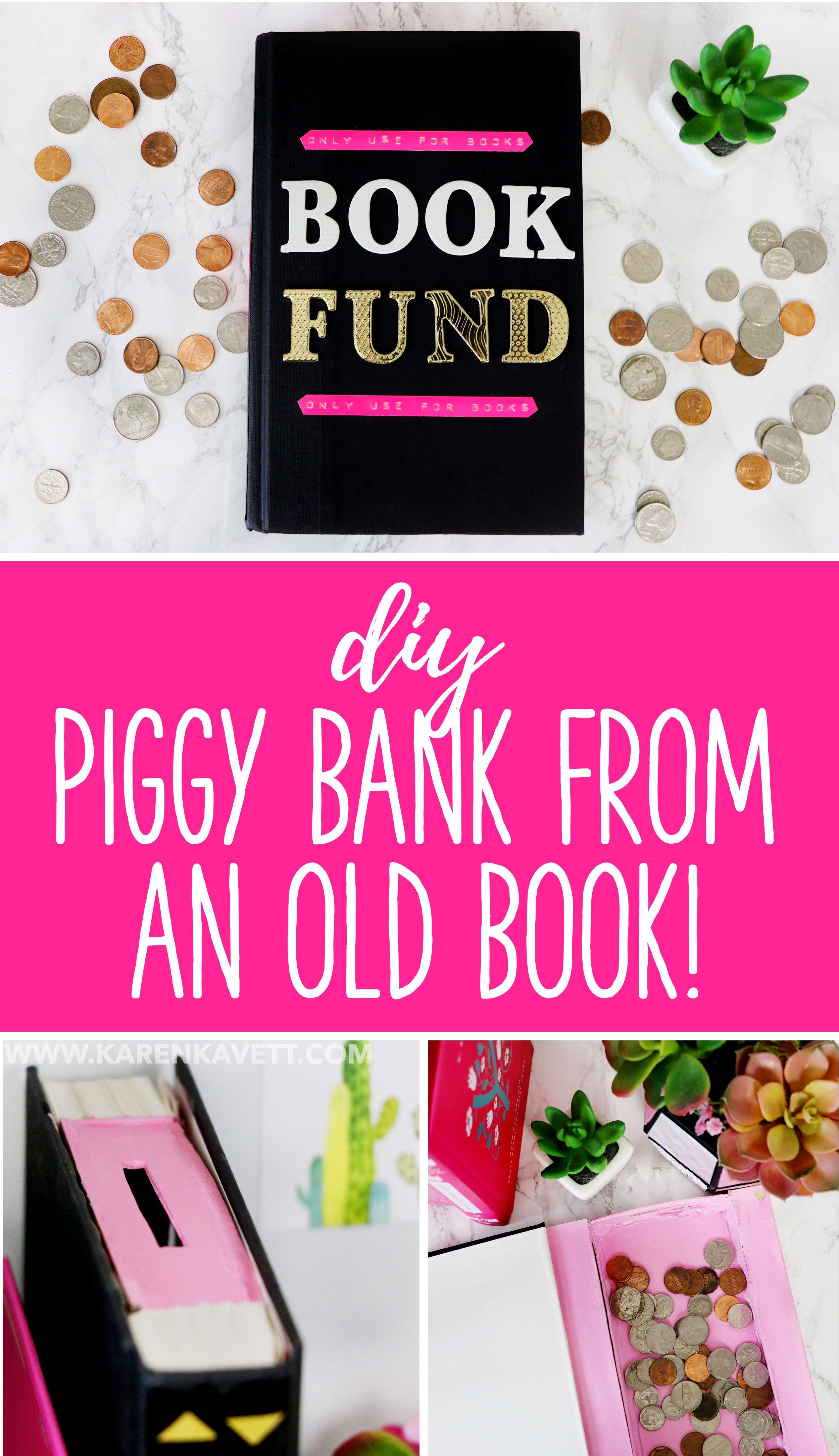 DIY Piggy Bank made from an Old Book - @karenkavett