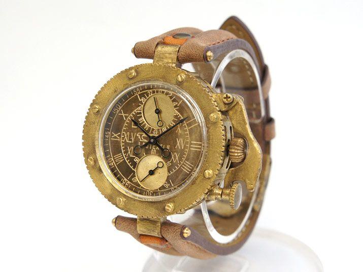 9c0cef4dc9 ラストエグザイルとコラボ!リューズカバーも洒落た真鍮製の手作り腕時計 ...
