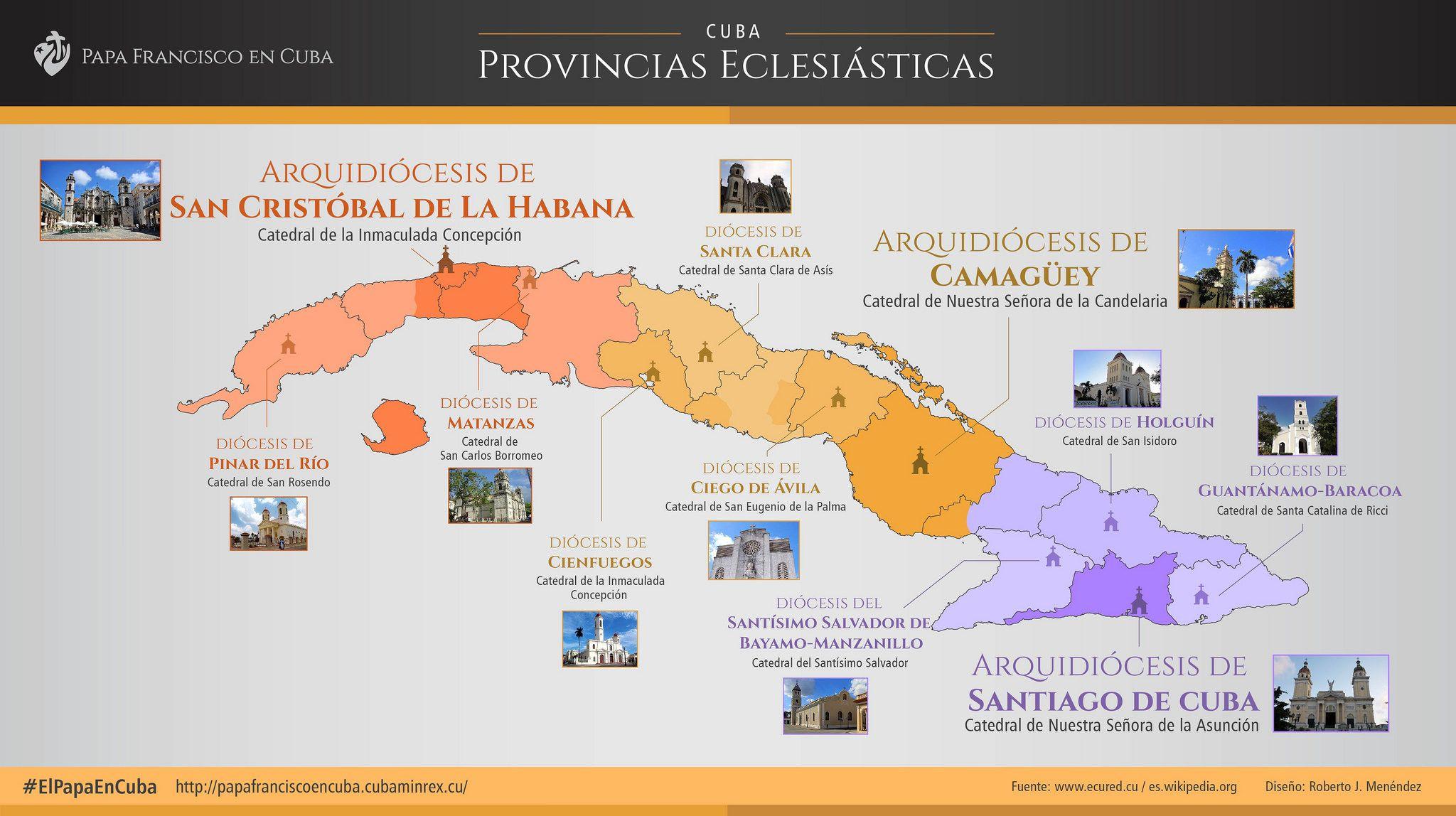 [#infografía] Provincias eclesiásticas de Cuba. #religión #elpapaencuba #iglesia #catolicismo #Cuba #Papa #PapaFrancisco #arquidiócesis #SantiagodeCuba #InicioCreativo