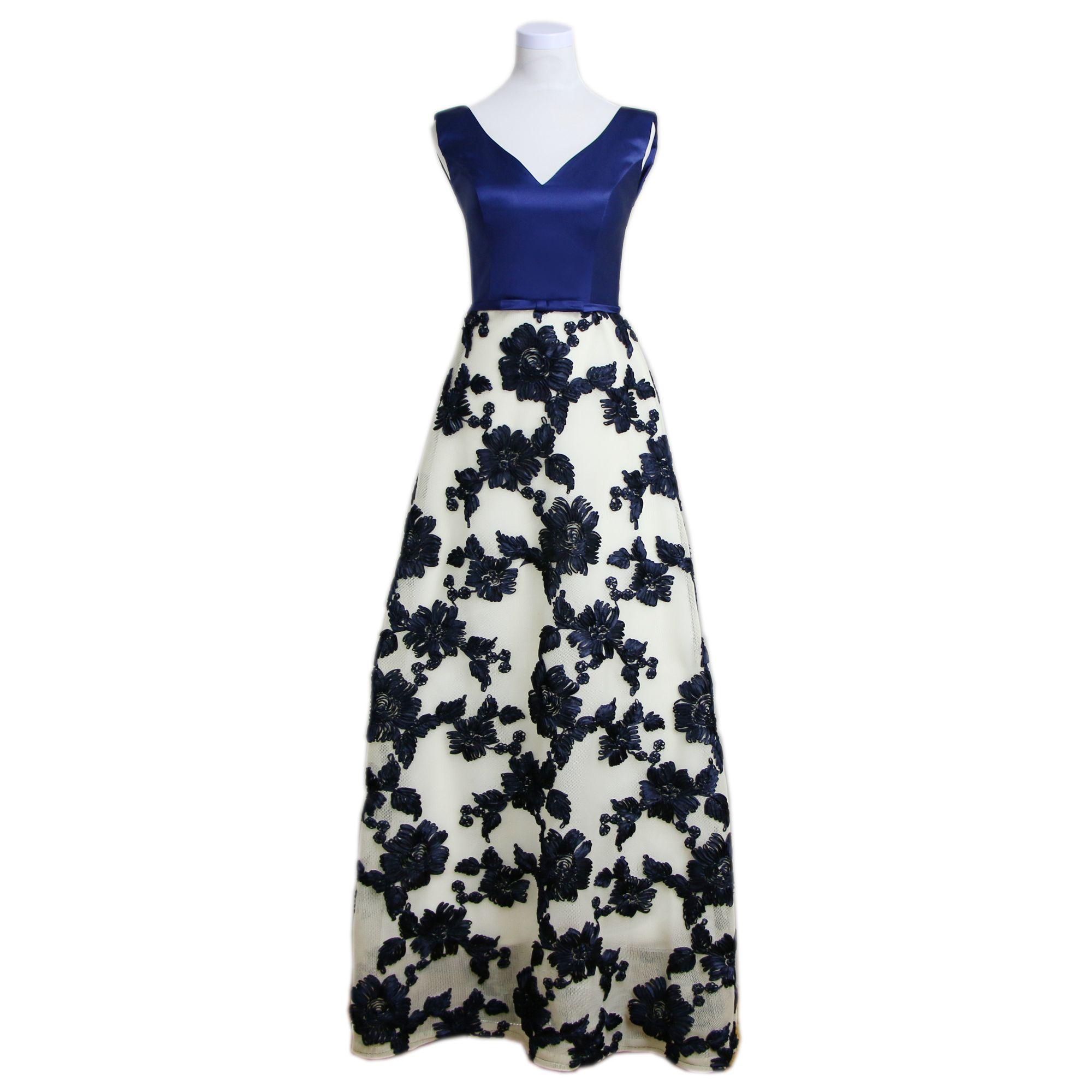 navy blue v neck floral appliques elegant evening dresses long