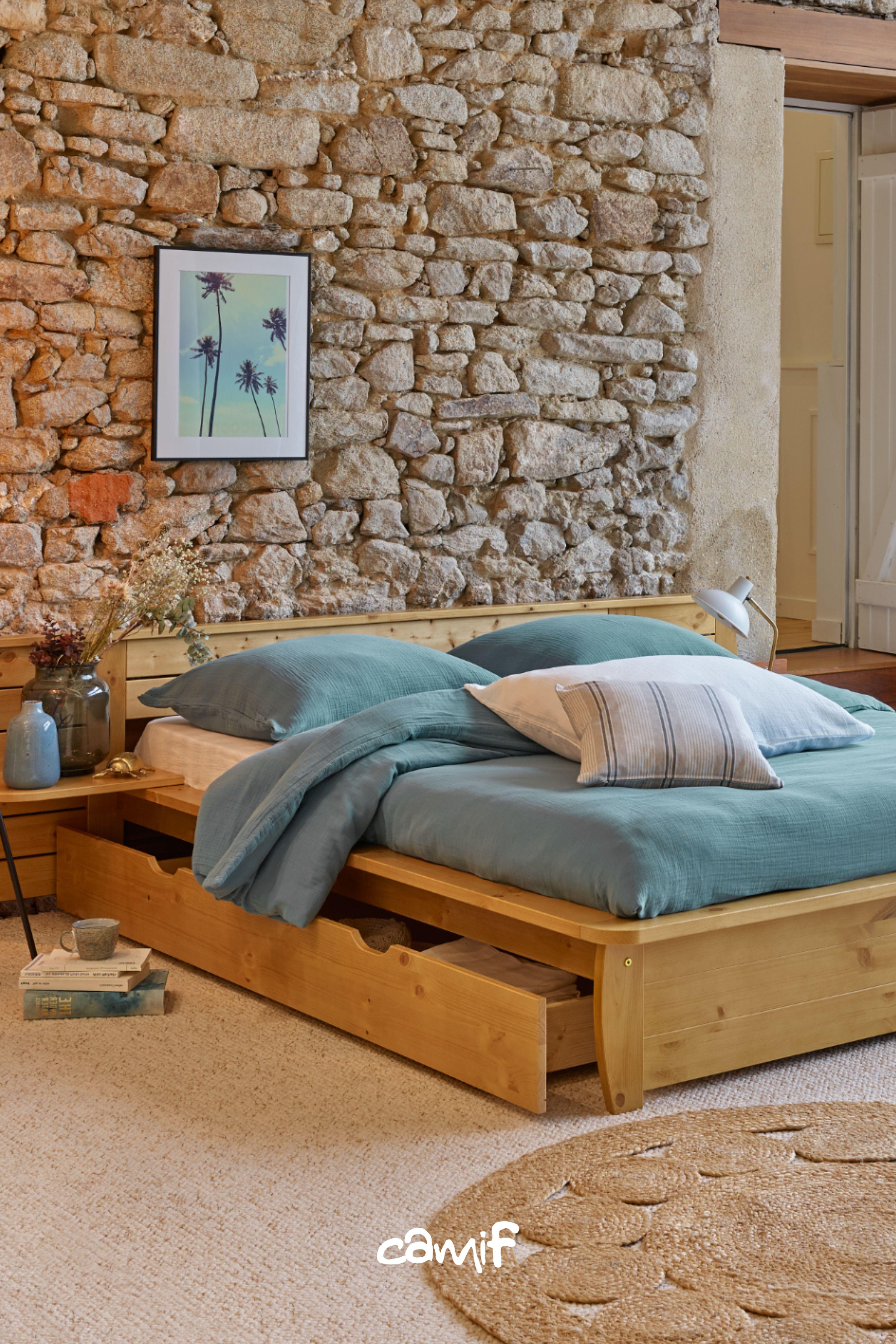 camif lit bois avec rangement lit complet lit decoration maison