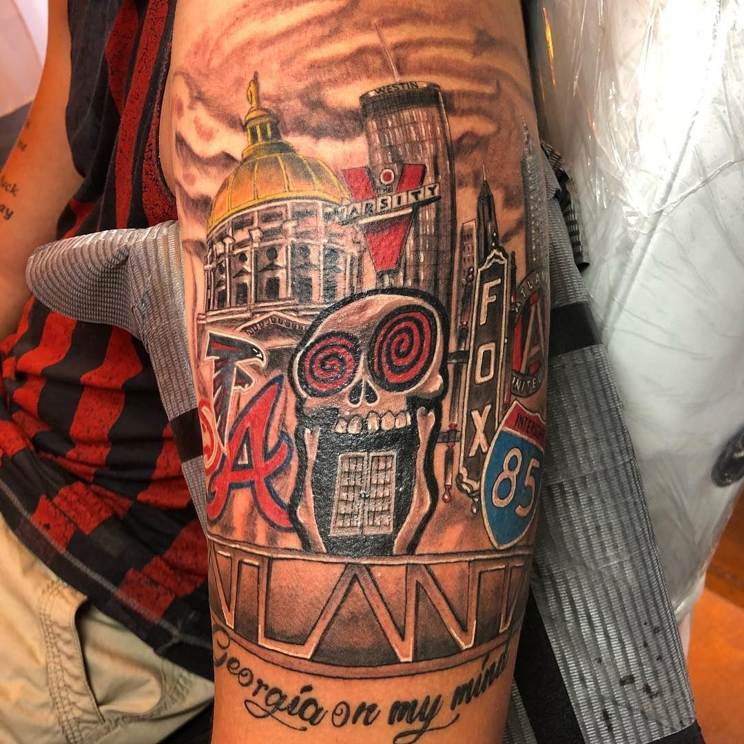 My City Atl Georgia Tattoo Atlanta Tattoo Forearm Sleeve Tattoos