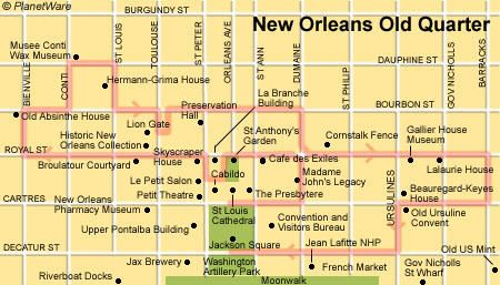 New Orleans Old Quarter Floor plan map New Orleans Locations