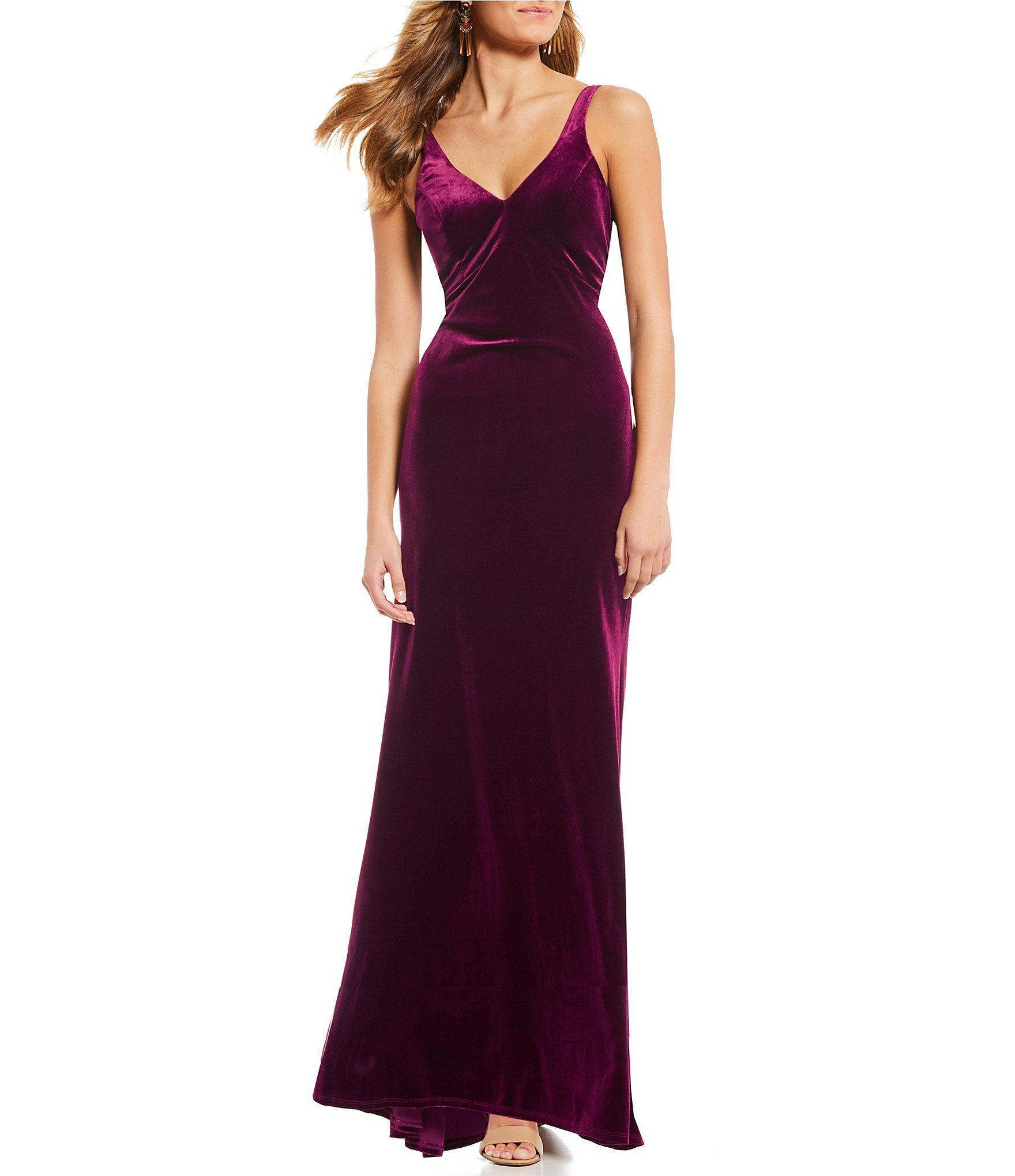 0c89a5034c5 Sequin Hearts PlungingVNeck Long Velvet Dress  Dillards