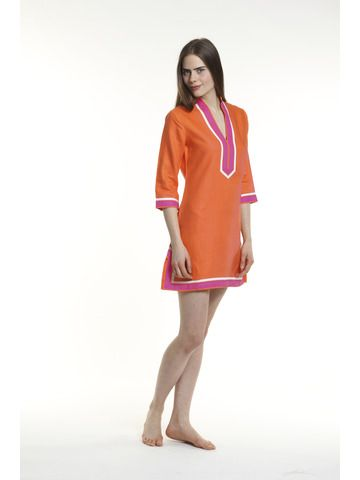 """Tunic Top # T101 Retail price $225  Length 31""""   Tunic Dress # TD101 Retail price $240  Length 36""""   Orange body, broad trim is fuchsia and thin trim is white.   100% linen, pre shrunk, machine washable and dryer friendly."""