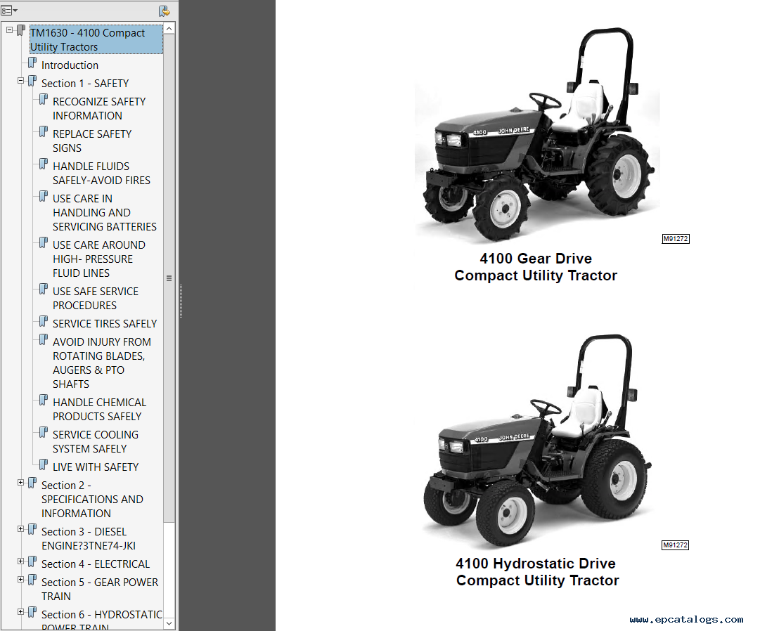 repair manual John Deere 4100 Tractor Compact Utility TM1630 Technical  Manual PDF - 1