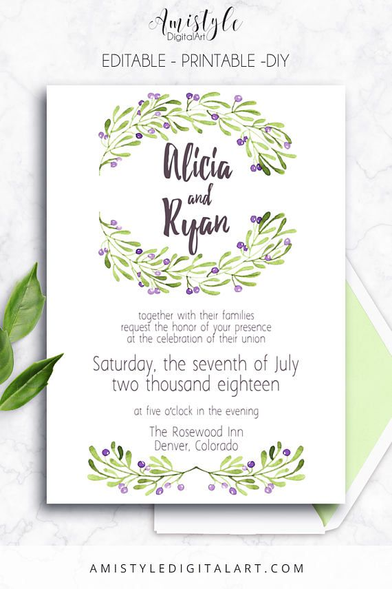Printable Wedding Invitation,Olive, DIY Wedding Template, Printable ...