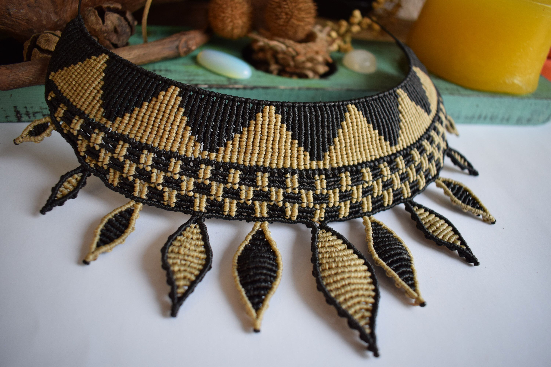 Choker Necklace Boho Necklace Charm necklace Macrame Necklace with Brass Charms Tribal Jewelry Bohemian jewelry Collar necklace