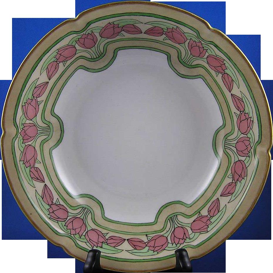 """Pfeiffer & Lowenstein (P&L) Austria Arts & Crafts Tulip Motif Bowl (Signed """"Bessie M. Lindsey""""/Dated 1909)"""