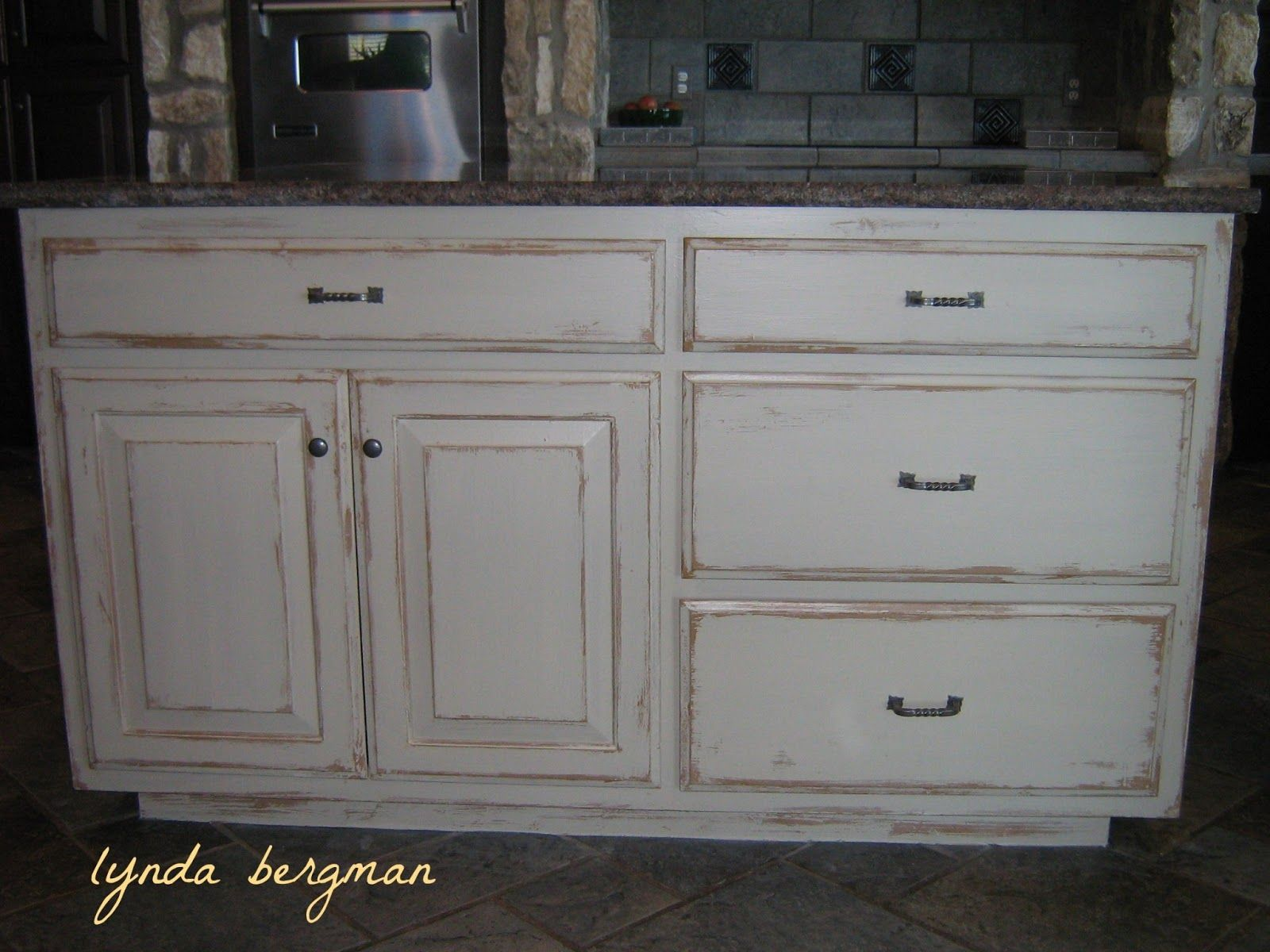 Distressed Wood Kitchen Cabinets Light Colored Island Looked