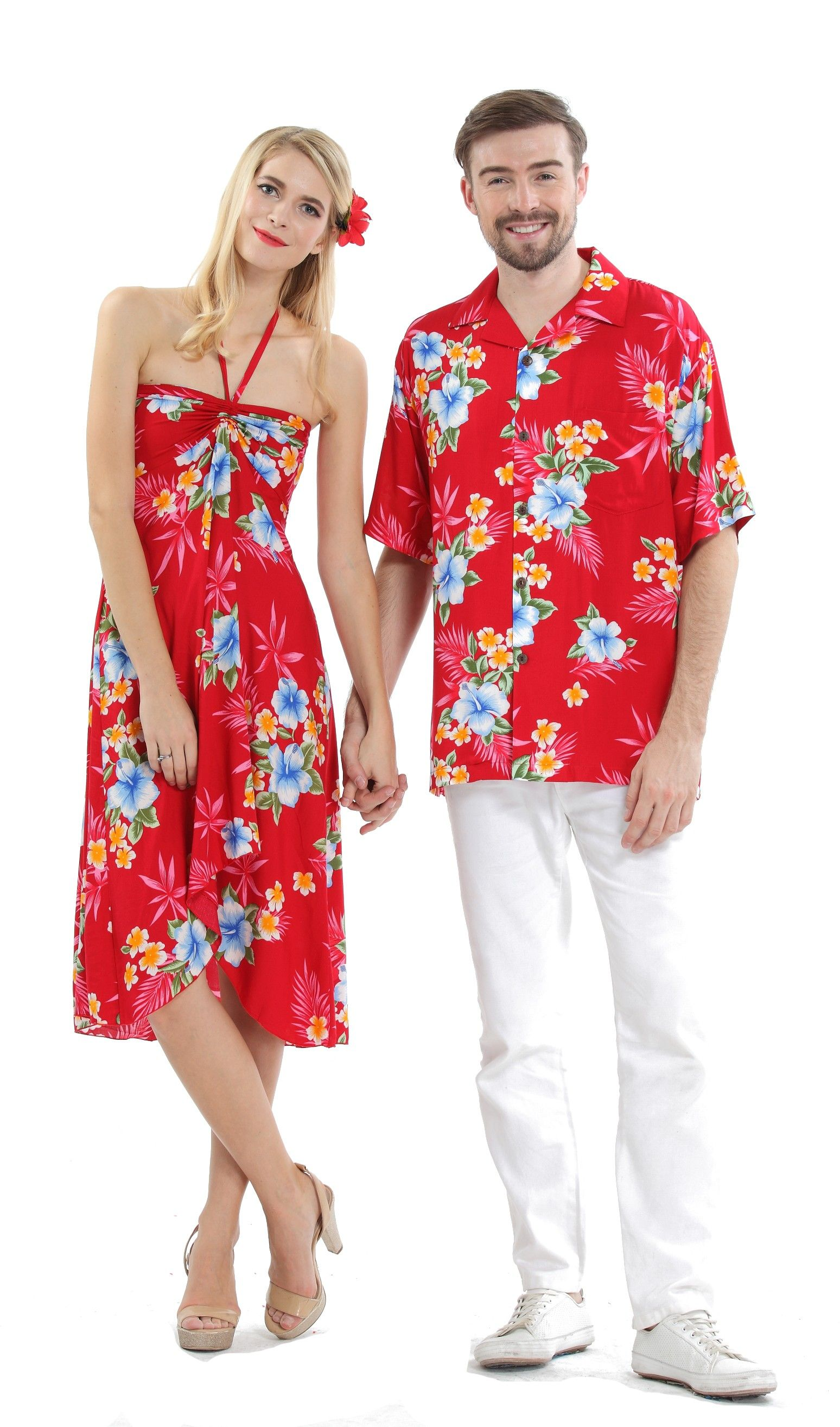 dd0b6540e3 Couple Matching Hawaiian Luau Cruise Party Outfit Shirt Dress in Hibiscus  Red