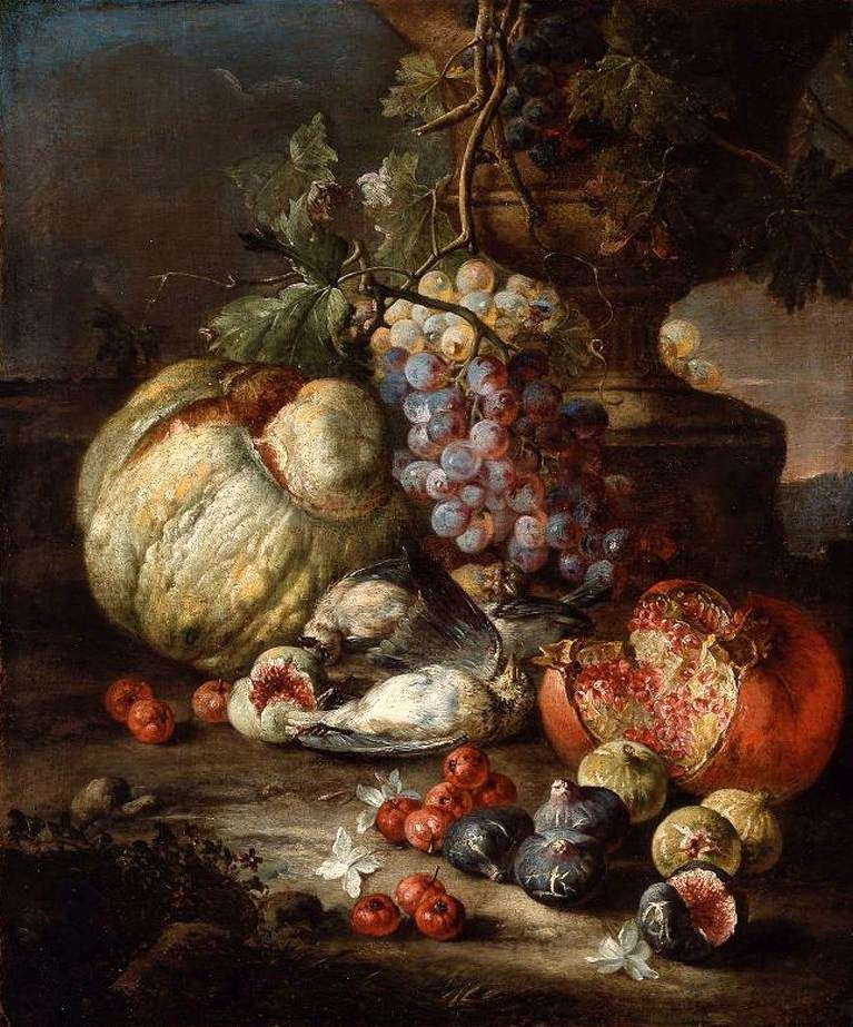 Giovanni Battista Ruoppolo 1629 - 1693~Still-Life with Fruit and Dead Birds in a Landscape