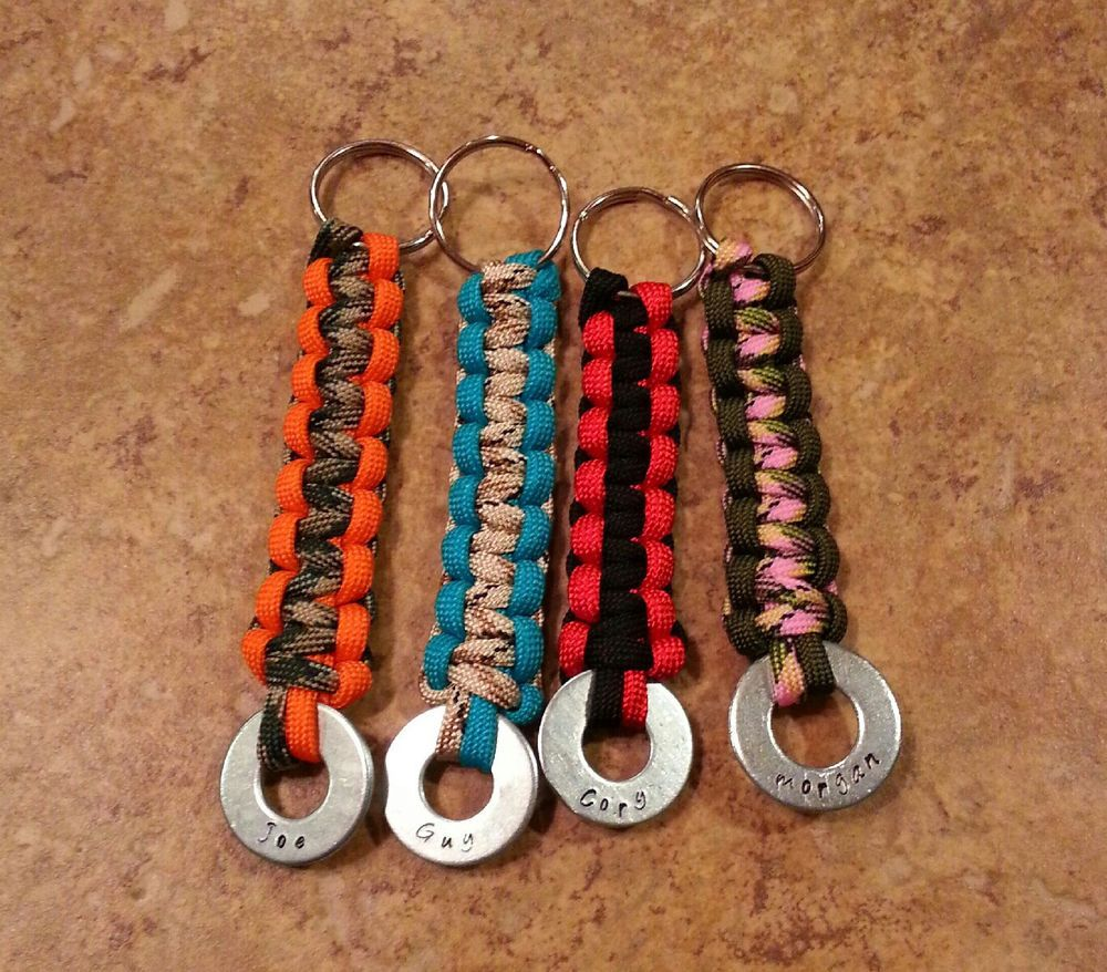 Paracord Keychain Personalzied W Hand Stamped Washer Choose 1