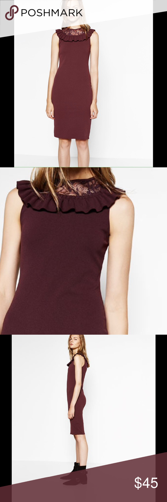 4d39a44a ZARA BURGUNDY DRESS WITH NECK RUFFLE Round neck sleeveless tube dress with  lace and frill. Back fastening.. 97% polyester, 3%elastane Zara Dresses Midi