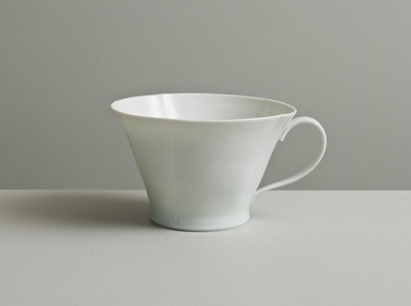 Scalloped cup in satin-white and celadon glazes- Olen Hsu