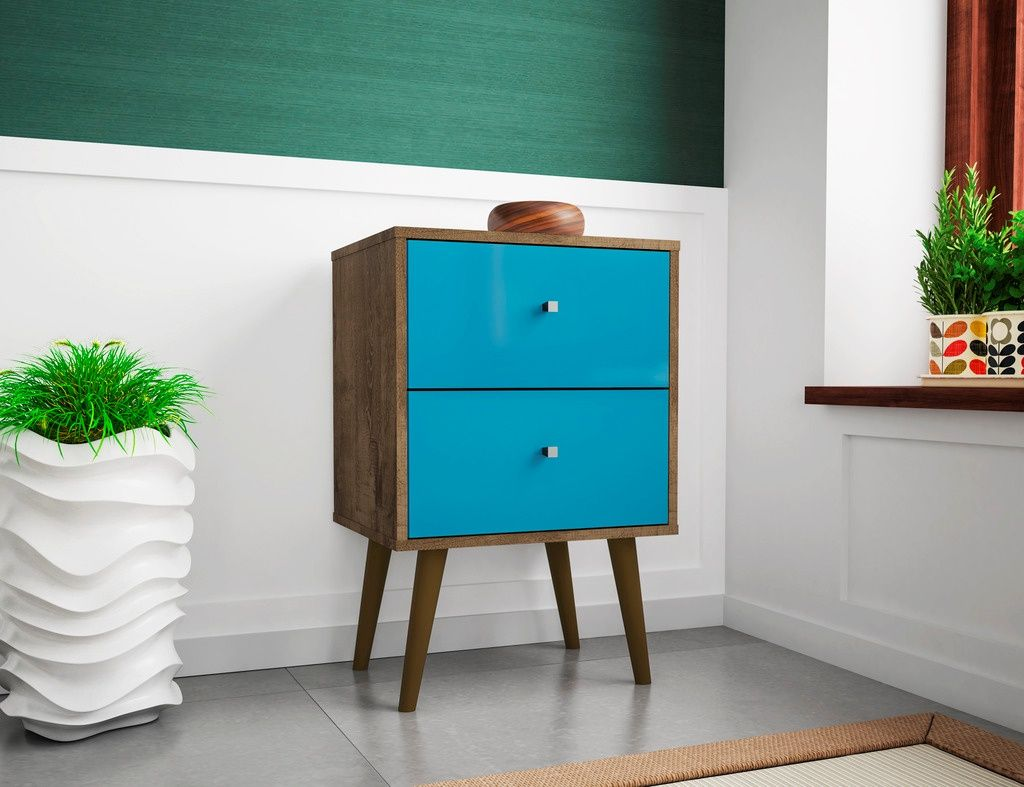 Manhattan Comfort 204amc93 Liberty Mid Century Modern Nightstand 2 0 W 2 Full Extension Drawers In Rustic Brown Aqua Blue Modern End Tables Home Decor Midcentury Modern