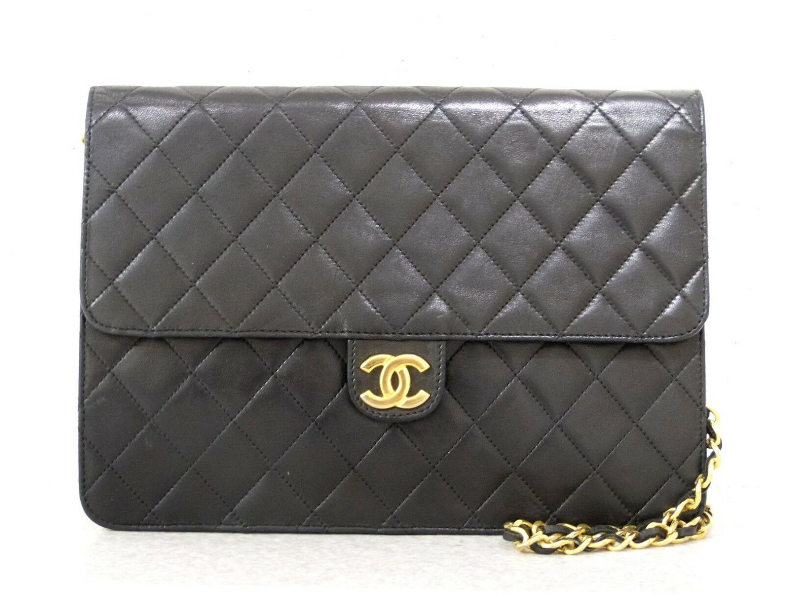 8a4cf7744fe8 #FORSALE rk5381 Auth CHANEL Black Quilted Lambskin Leather Push Lock Chain  Shoulder Bag - $355