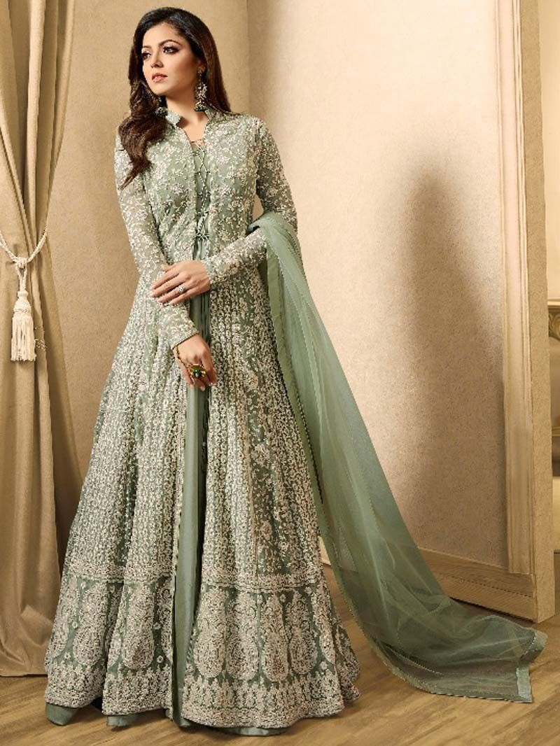 Olive green color latest pakistani long wedding eid special anarkali