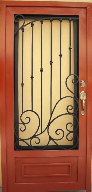 Puertas principales forja herreria moderna maui for Puertas de madera con herreria
