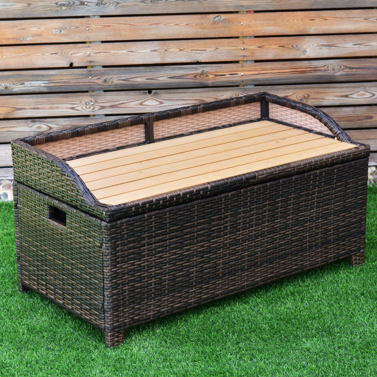 Tangkula Wicker Deck Box 50 Gallon Patio Outdoor Pool Rattan Container Storage Box Bench Seat Continue To Resin Patio Furniture Wicker Chest Outdoor Wicker