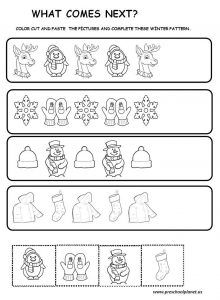 christmas winter pattern worksheet for kids winter worksheet for kids pattern worksheet. Black Bedroom Furniture Sets. Home Design Ideas